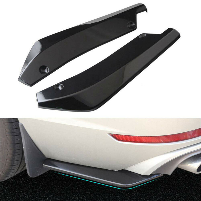 2pcs Universal Car Rear Bumper Lip Spoiler Canards Wrap Angle Scratch Protector Diffusers ABS Car Exterior Parts