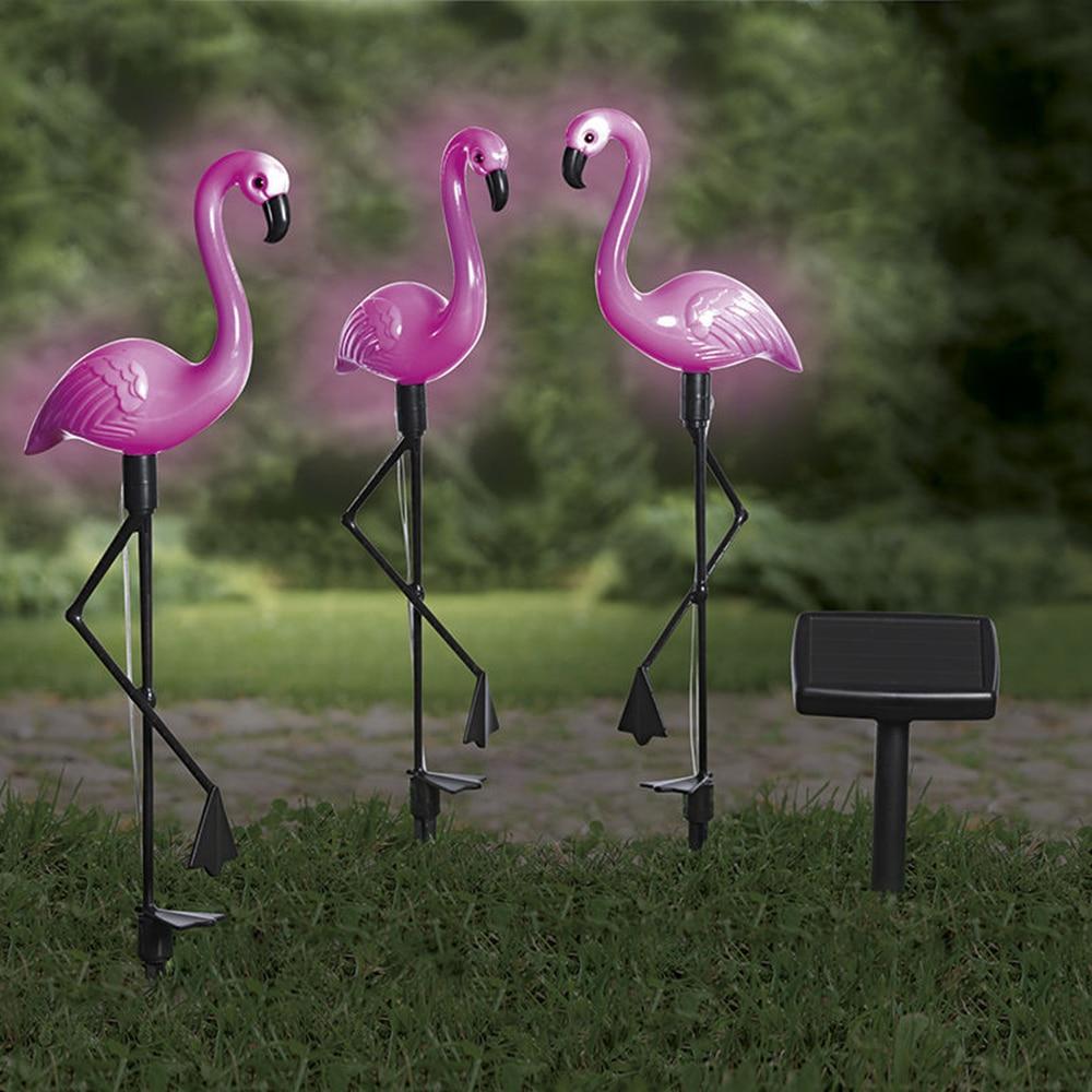 Solar Garden Light Solar Flamingo Stake Light Waterproof Pink Lawn Decorationout Out Light Lighting Outdoor Garden Lawn Lamp D30