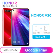 "Google Play Honor V20 128GB 256GB NFC 48MP + 25MP caméra Kirin 980 6.4 ""plein écran vue 20 Super Charge téléphone portable(China)"