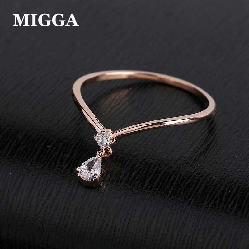 MIGGA Zarte Kleine Wasser Tropfen Anhänger Ring für Frauen Rose Gold Farbe Zirkonia Ring Schmuck
