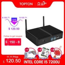 זול Fanless מיני מחשב Intel i5 7200U i3 7167U Windows 10 Barebone מערכת יחידת מחשב שולחני מחשב לינוקס HTPC VGA HDMI WiFi 6 * USB