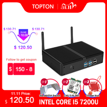 Mini PC sans ventilateur Intel, ordinateur de bureau pas cher, i5 7200U, i3 7167U, Windows 10 Barebone, Linux HTPC, VGA, HDMI, WiFi, 6 ports USB