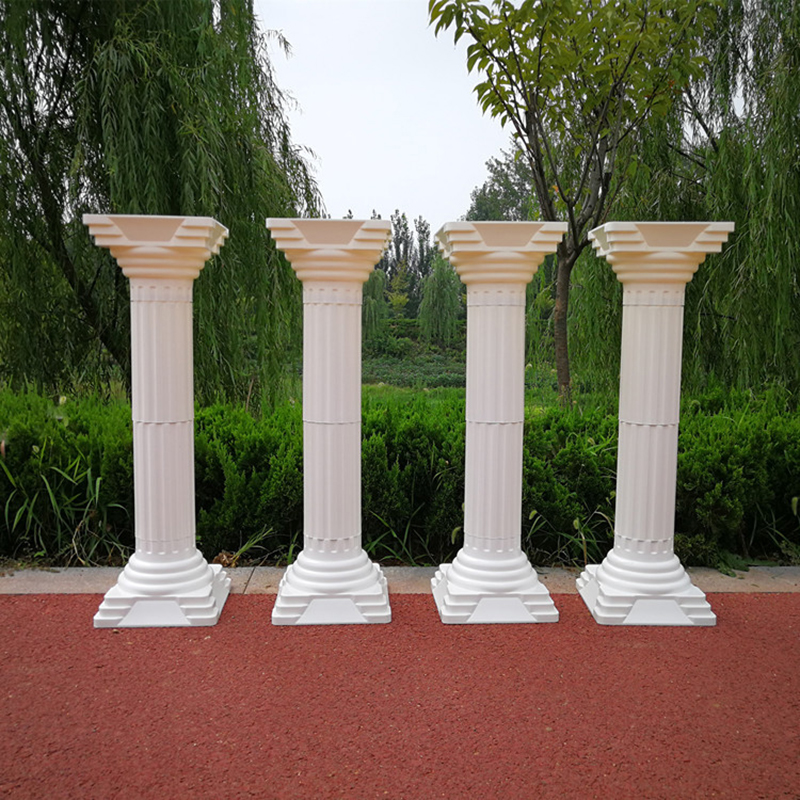 European Style Fashion Wedding Props Decorative Roman Columns White Plastic Pillars Flower Pot Road Lead Stand Party Event