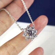 Luomansi 40CM sol flor collar de lujo de Plata de Ley 925 1ct anillo collar fiesta joyería fina