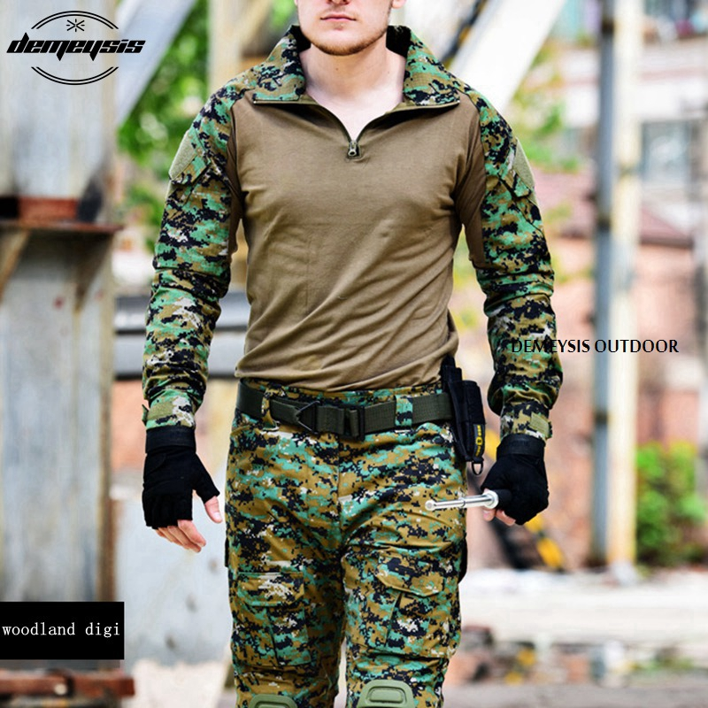 Woodland Digital Army Military Uniform Camouflage Tactical Combat Suit Airsoft War Game Clothing Shirt Pants Elbow