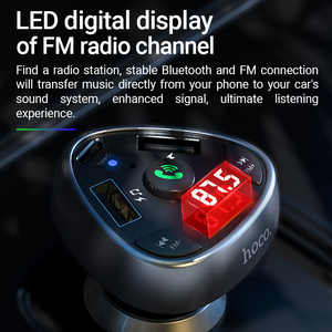 Image 3 - Hoco in Car Charger BT FM Radio Transmitter Wireless Handsfree Audio Receiver Dual USB Type C 18W Fast Charging TF USB playback