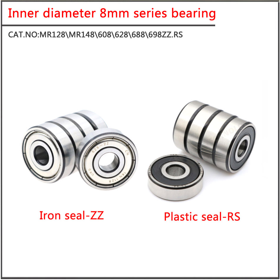 10Pcs/set MR128 MR148 688 698 608 628ZZ RS Double sided iron sheet seal Small diameter ball bearing with inner diameter of 8mm image