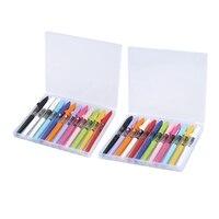 JINHAO 24Pcs Shark Serie Brunnen Stift Candy Farbe Kawaii Shark Abdeckung Student Practise Tinte Stift mit einem Box- 12Pcs 0 38 Mm & 12Pcs