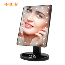 Makeup Mirror With 22 LED Light Cosmetic Touch Screen Switch Battery Operated Stand For Table Woman Bathroom