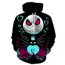 Masculino feminino hoodies outerwear presente de halloween pesadelo antes do natal jaqueta 3d impressão feminino/masculino com capuz cosplay moletom