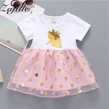 ZAFILLE Cotton Infant Baby Girl Clothes Mesh Patchwork Toddler Summer Dress Printed Kids Clothes 2020 New Cute Baby Girls Dress zafille new baby girl clothes summer dress for girls patchwork mesh girls dress short sleeve toddler kids clothes princess dress