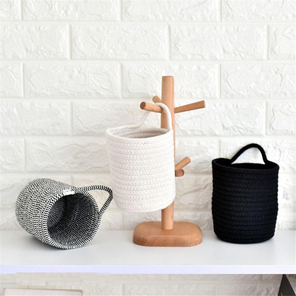Chic Cotton Line Woven Hanging Basket Mini Cosmetic Storage Box Dressing Table Sundries Finishing Bucket Organizer Frame
