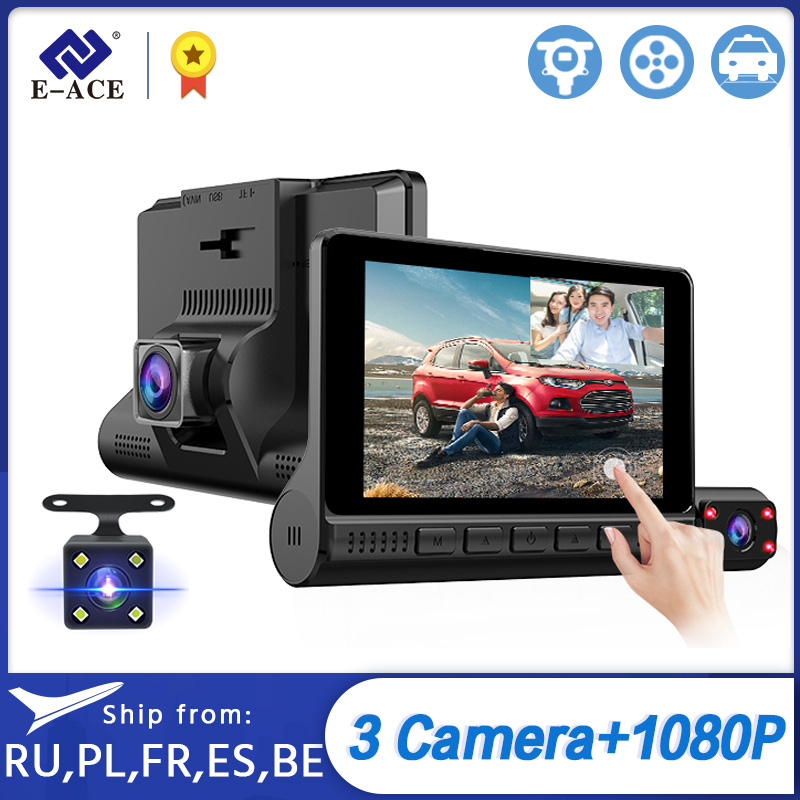 E-ACE Car Dvr Video-Recorder Support Dash-Camera Touch-Screen Auto Lens 1080P FHD