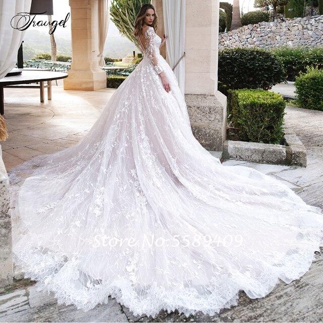 Traugel Scoop A Line Lace Wedding Dresses Elegant Applique Long Sleeve Button Bride Dress Cathedral Train Bridal Gown Plus Size 2
