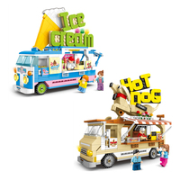 City Street view Ice Cream Van Hot Dog Truck Model Building Blocks Camping Car Food Shop Educational Toys for kids Compatible