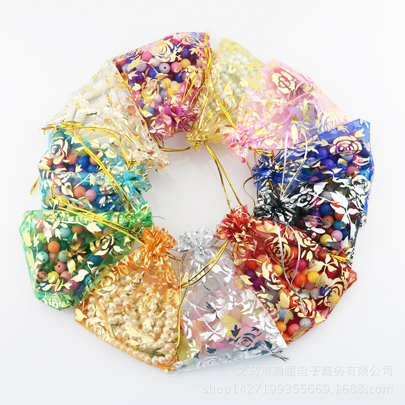 50pcs Gilt Organza Gauze Bags Gift Packaging Jewelry Package Bunchhole Organza Pearl Bag Multi-size Rose Bags Colorful Choose
