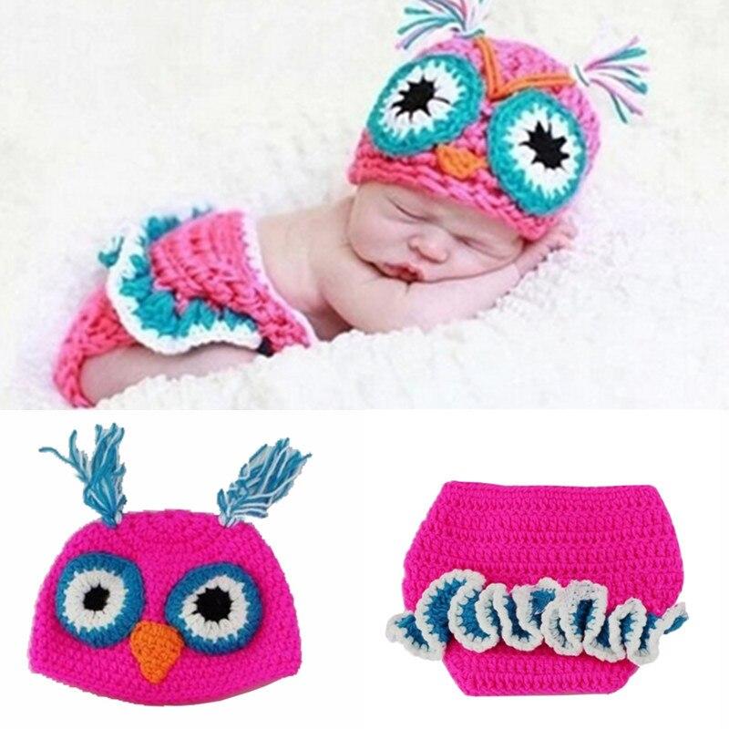 Cartoon Chick Costume Set 2pcs Knit Cap Pants Newborn Baby Photography Prop