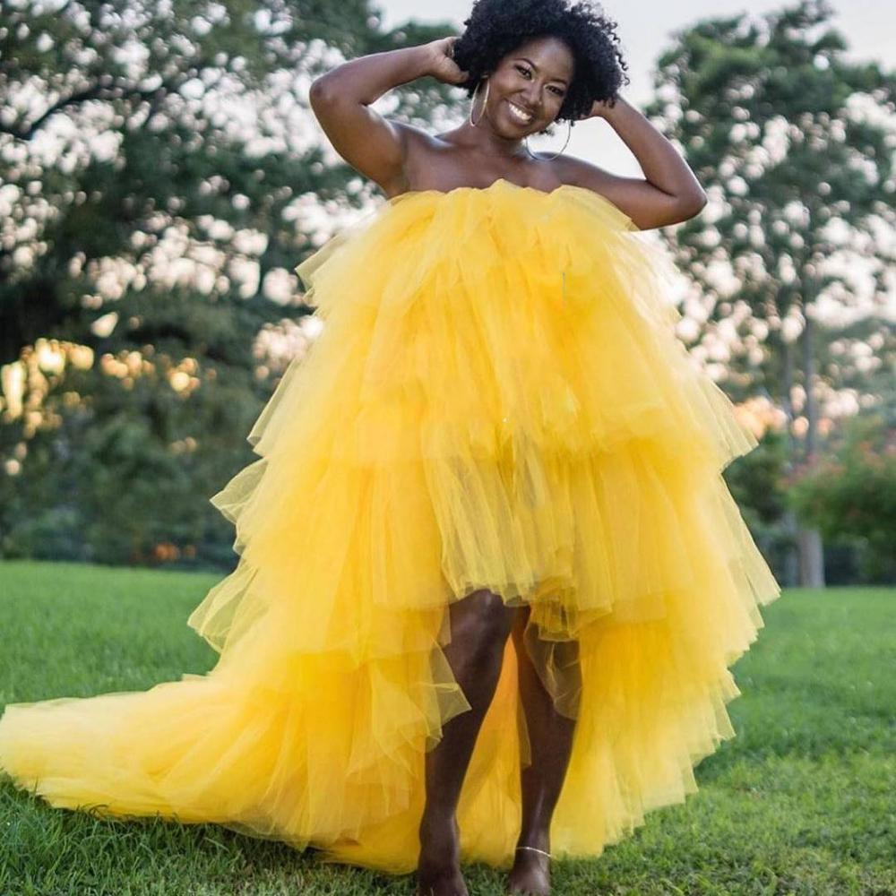 Ball Gown Tulle Dresses High Low Long Train Prom Gowns Extra Puffy Layered Tiered Tulle Special Occasion Dress Robe de soiree