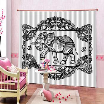 Customized size Luxury Blackout 3D Curtains Elephant Print Curtains for Living Room Bedroom Window Curtains