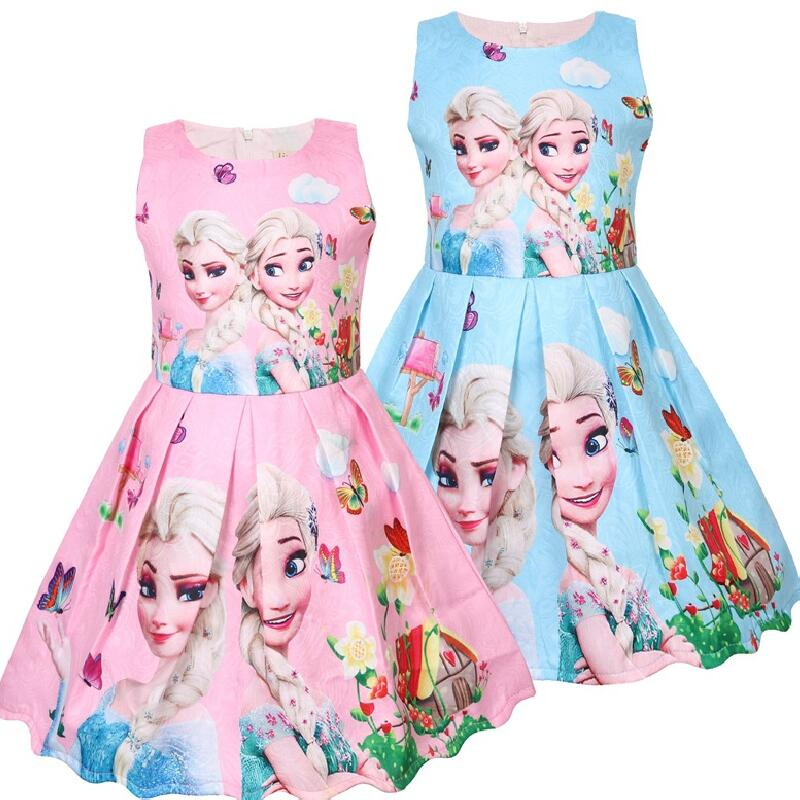 Summer Baby Girl Dress Princess Vestidos Fever Anna Elsa 2 Dress Children Clothing For Kids Birthday Party Costume