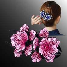Стразы двойной цветок заколка для волос Утконос женщин Цветочный