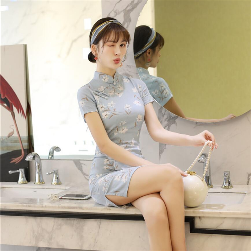 Wholesale Linen Chinese Dress Womens Vintage Qipao Modern Improved Short Sleeve Cheongsam Sexy Traditional Dress