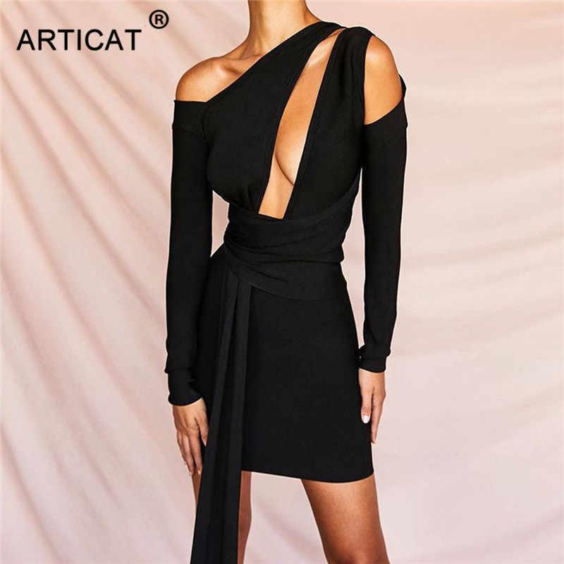 Articat сексуальное платье с неровным вырезом, Драпированное облегающее платье, женское платье с открытыми плечами и длинным рукавом, однотонное Черное мини платье Drss Pary