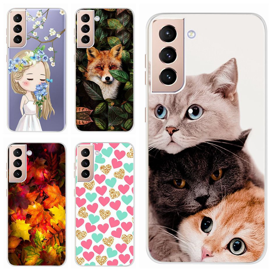 Cute Cat Cover For For Samsung Galaxy S21 S21+ 5G Case SM-G991B Soft Slim Back Cover For Samsung S21 Plus 5G SM-G996B Phone Case