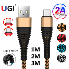 Фото - UGI Fast Charge Cable Data Cable For Type C USB C Nylon Braided Quick Charge Micro USB Tablet Charger Data Transfer 2A Gold кабель micro usb baseus camgh e01 halo data cable usb for micro 2a 3м black черный
