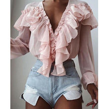 2019 New Women Chiffon T-Shirts Tops Solid Color V-Neck Ruffle Trim Women Casual Long Sleeve Loose Shirts Top tie neck ruffle trim top