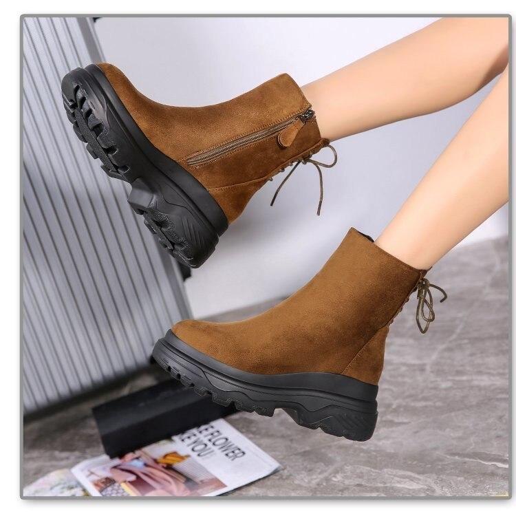Inverno quente nova plataforma casual botas de