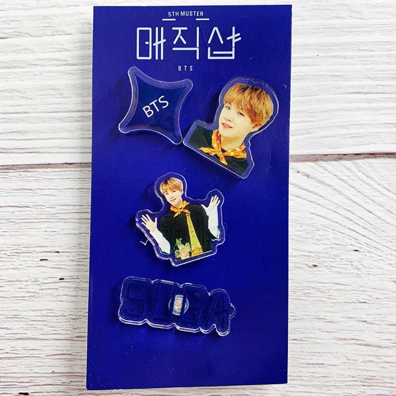 4 Pcs/set Bintang Kpop Bangtan Boy Akrilik Lencana untuk Ransel Pakaian Ikon Lucu Pins Lencana Bros Dekorasi Hadiah