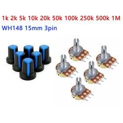 Kit azul WH148-potenciómetro de película de carbono, 15mm, 3 pines, B1K, 2K, 5K, 10K, 20K, 50K, 100K, 250K, 500K, 1M, 5 unidades por lote