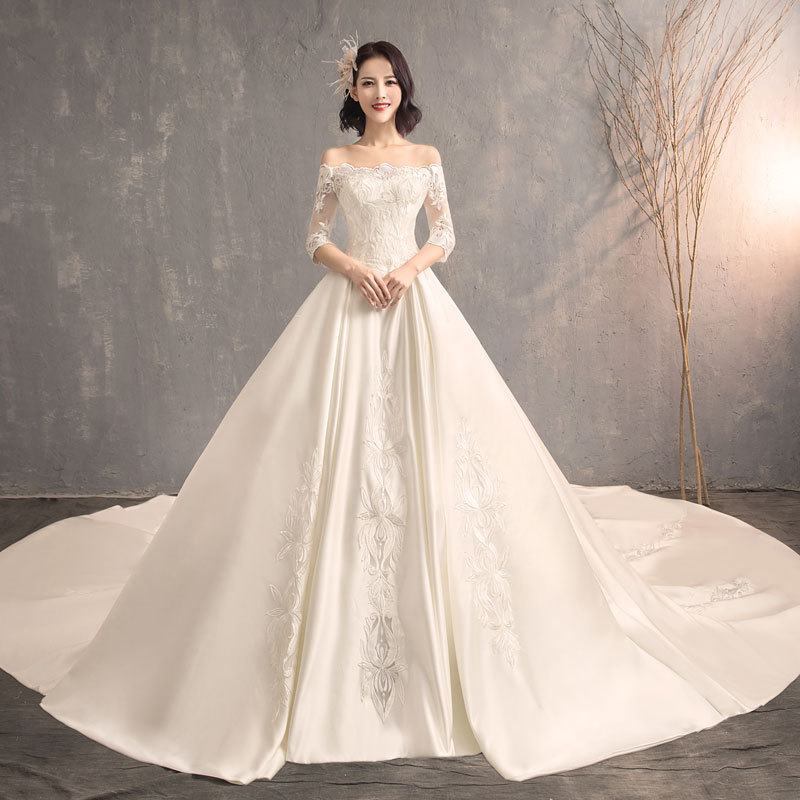 Luxury Pearl satin bridal gown off shoulder marriage anniversary wedding gown lace up wedding dresses
