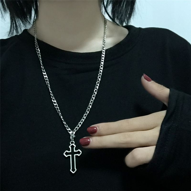 Vintage Gothic Hollow Cross Pendant Necklace Silver Color Cool Street Style Necklace For Men Women Gift Wholesale Neck Jewelry