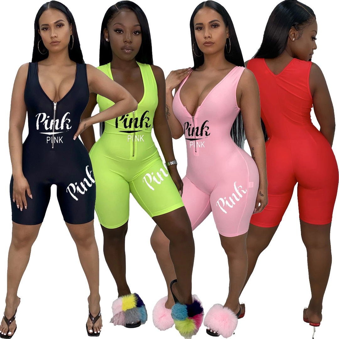 2020 Pink Summer Women Playsuits Jumpsuits V-Neck Letter Print Street Rompers Sexy Night Club Party Bandage One Piece Outfits