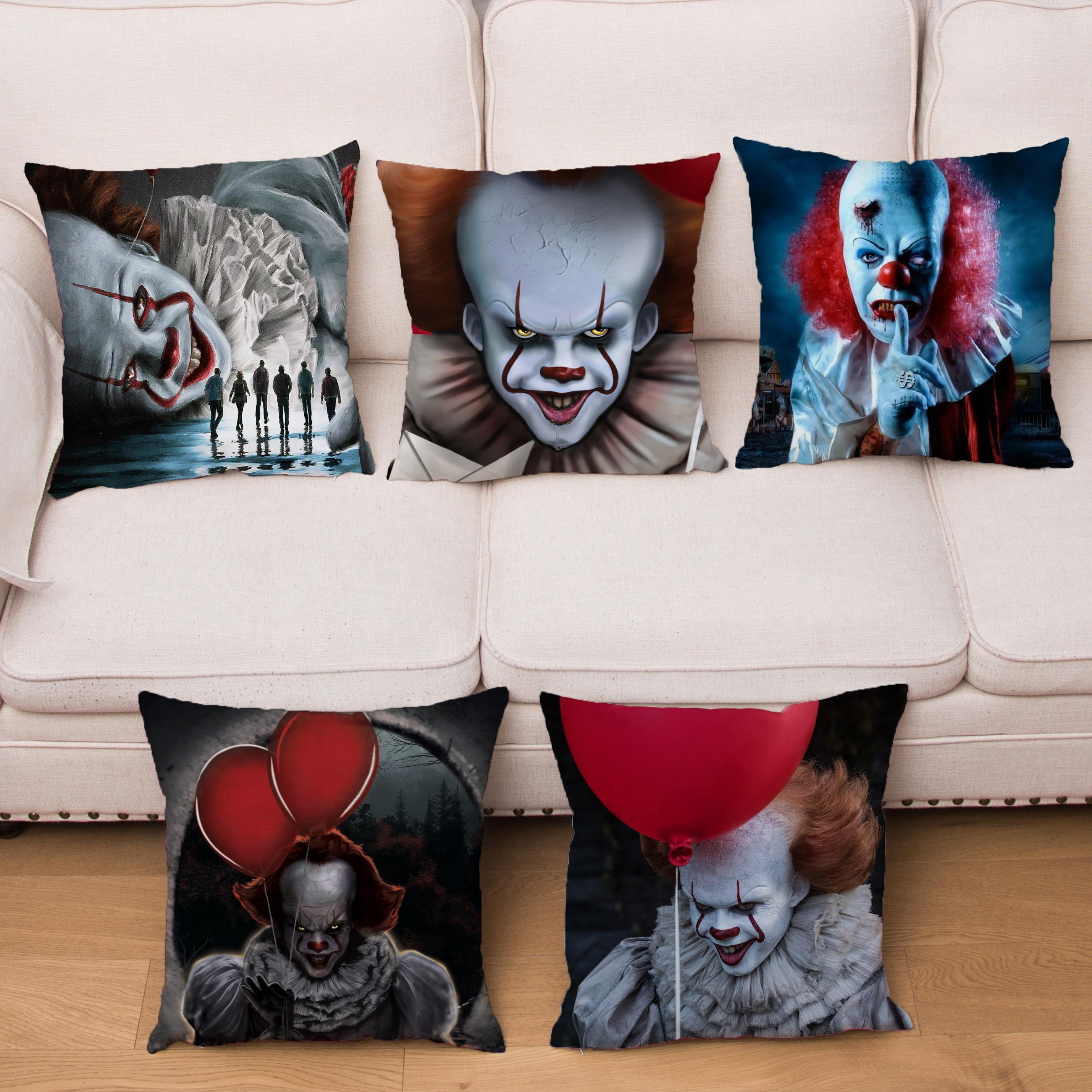 Terror Clown It Cushion Cover Super Soft Short Plush Pillow Case Horror Print Throw Pillowcase Sofa Home Decor Pillows Covers