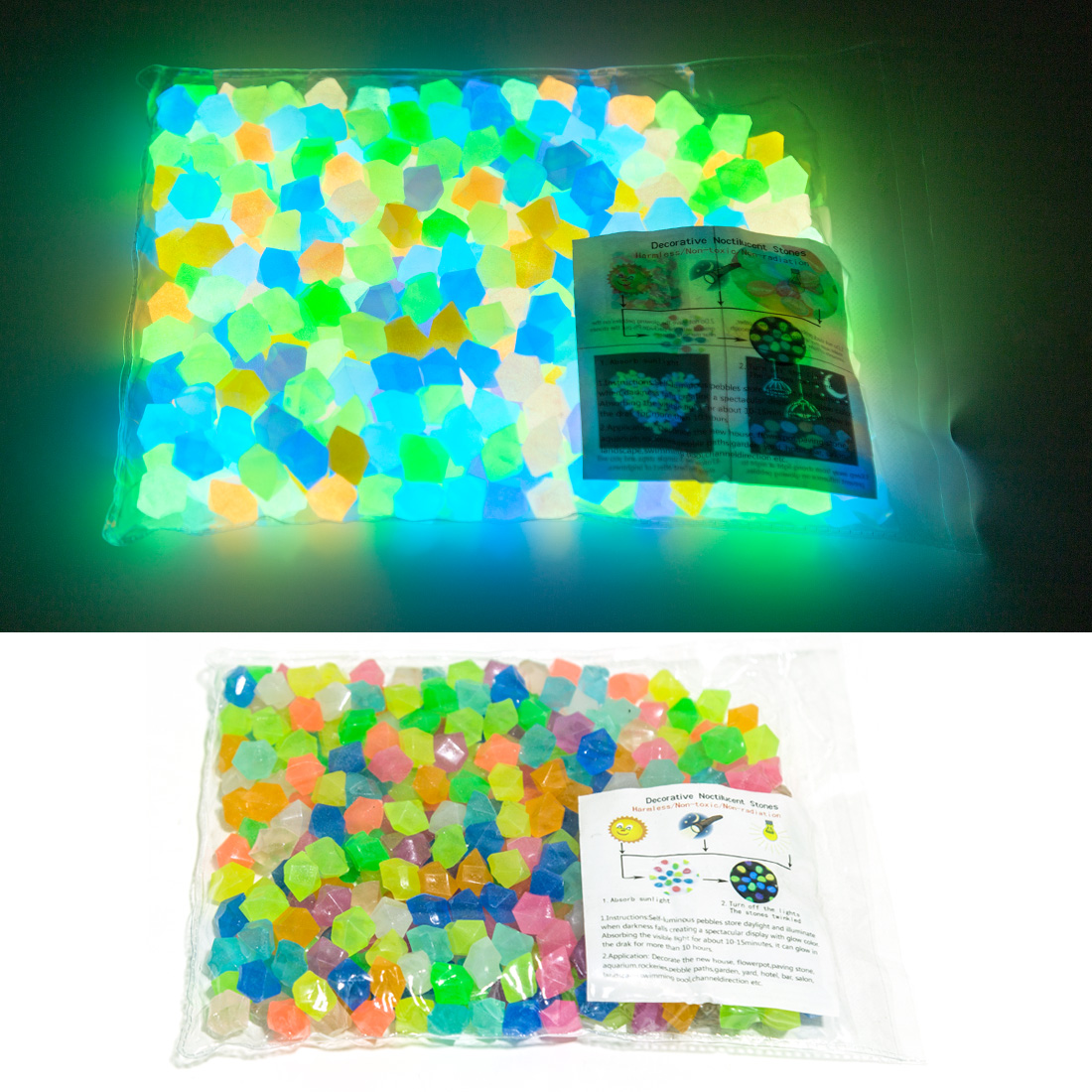300pcs/600Pcs 14mm Luminous Stones Glow In The Dark Pebbles Glow Gravels For Yard And Walkways Home Decoration Accessories