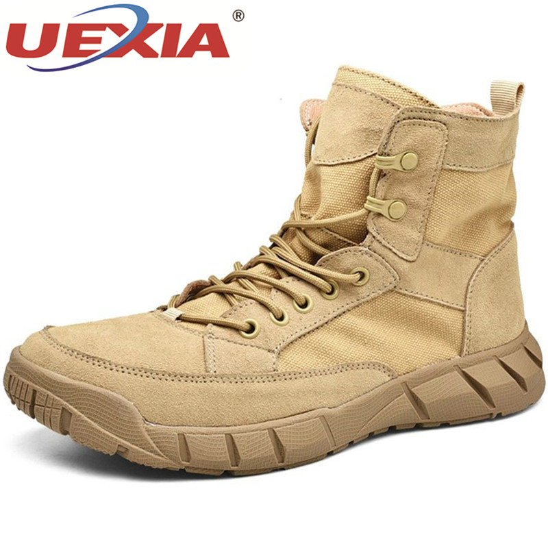 UEXIA Men High Quality Brand Military Leather Boots Special Force Tactical Desert Combat Men's Outdoor Shoes Ankle Footwear