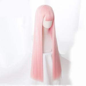 Image 3 - Anime sevgilim FRANXX içinde 02 Cosplay peruk sıfır iki peruk 100cm uzun pembe sentetik saç peruk Cosplay peruk + peruk kap + saç tokası