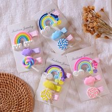 3pc/set Cute Girl Cloud Lollipop Rainbow Hairpins Cartoon Bobby Pin Hair Clips for Girls Children Headband Kids Accessories(China)