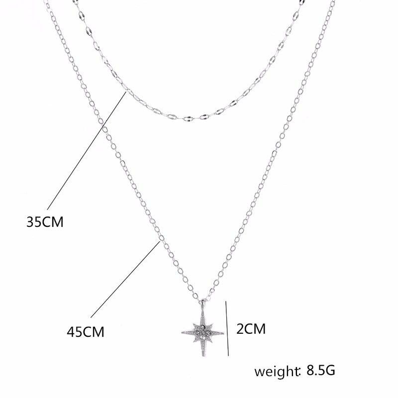 Star Necklace Women Jewelry Kpop Woman Necklaces Chain Pendants Zinc Alloy Metal Trendy European High Quality Collares Naszyjnik