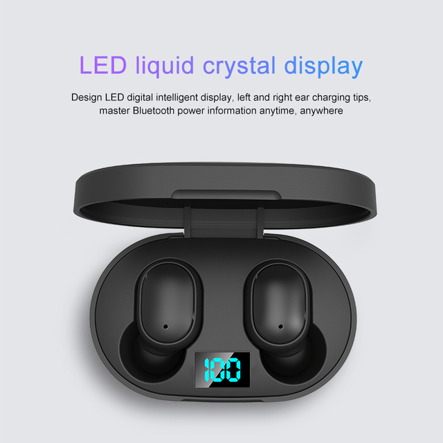 E6S TWS Bluetooth Earphone Wireless Headphones 5.0 LED Display Button Control Earbuds Waterproof Noise Cancelling Headset PK A6S 2