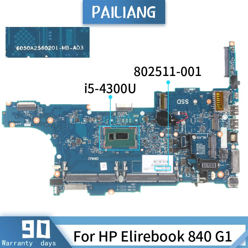 802511-001 For HP Elirebook 840 G1 802511-501 SR1ED I5-4300U Mainboard Laptop Motherboard DDR3 Tested OK