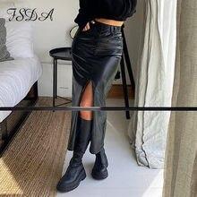 FSDA 2020 Midi fendu en cuir PU jupe femmes automne hiver noir Sexy moulante mode fête dames crayon jupes dames poche
