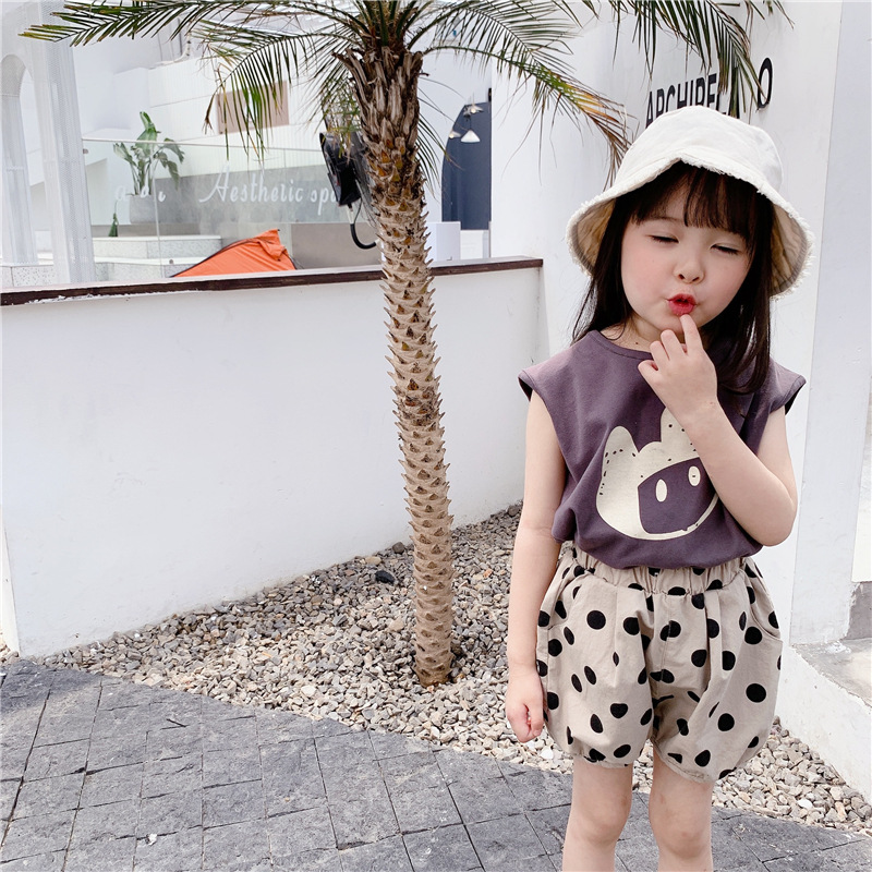 Cartoon  Panda Sleeveless Vests Kids Knitted Casual Clothes  1-6 Years Boys Girls Cotton Loose Waistcoats Children Tops
