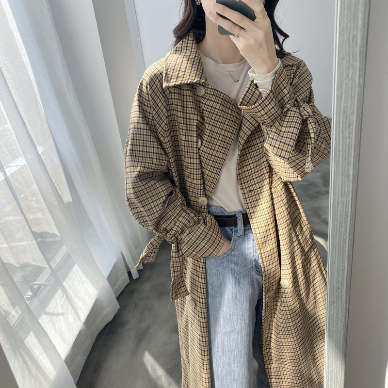 Long Vintage Double-breasted Plaid Trench Coat 2020 New Korean Loose Spring Women Coat