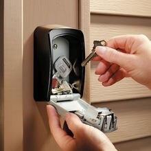 Caja de almacenamiento de llaves de montaje en pared, organizador de caja de seguridad con combinación de 4 dígitos, contraseña, cerradura con código de seguridad, sin tecla de inicio