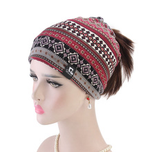 Women soft cotton Beanie Hat Headband Chemo Cap dual-use Headgear Autumn And Winter Sports Riding Warm Hat Outdoor Running Cap