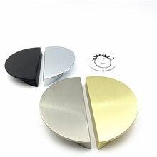 LCH-tirador de puerta Semicircular de Zinc macizo Oro pulido, tirador de cajón de armario, Color negro, estilo chino, media luna